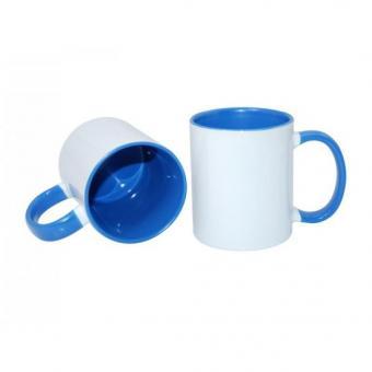 Tasse weiss 11oz  Henkel und Innenseite blau