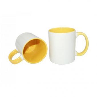 Tasse weiss 11oz  Henkel und Innenseite gelb