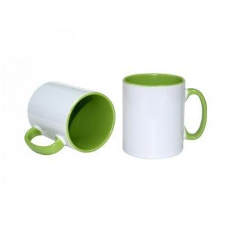 Tasse weiss 11oz  Henkel und Innenseite grün