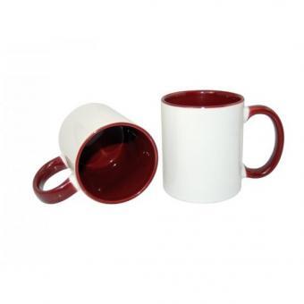Tasse weiss 11oz  Henkel und Innenseite rot